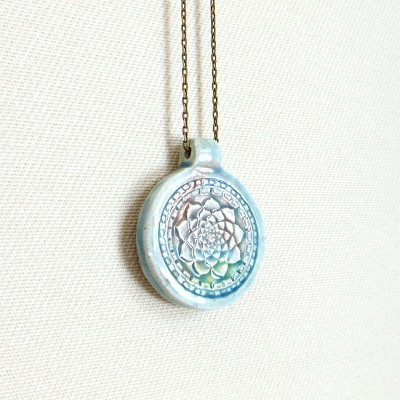 Lotus flower necklace blue buddhist clay mandala pendant
