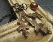 Custom Listing, Reserved, Vintaj Brass Autumn Oak Leaf, Czech Glass Pumpkin Pearl Necklace