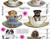 Pups in Cups - Digital Collage Sheet