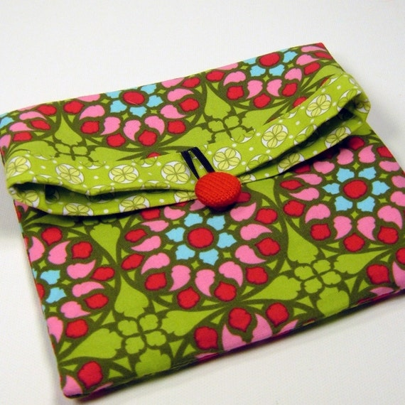 Small Folded Cosmetic / Make-up Pouch - Patti Young designer fabric - All purpose Reusable Gift Bag - Also available custom made with YOUR CHOICE of fabrics