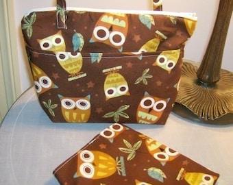 Insulated, zippered lunchbag set, sandwich bag, Robert Kaufman Brown Owls, summer camp, beach bag, picnic bag