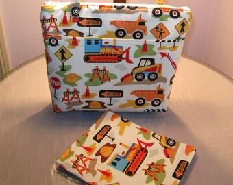 Insulated Zippered Lunch Bag Set, sandwich bag, Michael Miller's Tot Town Trucks, Diaper Bag, summer camp, beach bag, picnic bag