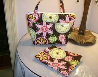 Insulated Zippered Lunch Bag and Sandwich Bag,  Michael Miller Carnival Bloom fabric