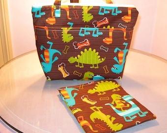 Insulated Zippered Lunch Bag Set  sandwich bag, Michael Miller Dinosaur fabric diaper bag