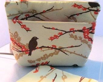 Insulated  Lunchbag Set,  sandwich bag, snack bag Joel Dewberry Aviary fabric, summer camp, beach bag, picnic bag