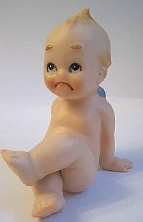 Kewpie Vintage  Lefton  Bisque Unhappy