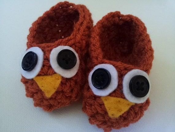 Crochet Baby Owl Shoes, Orange Booties, Baby Owl Shoes, Crochet Booties, Baby Booties, Brown Baby Shoes, Photo Prop