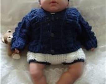 Baby Crochet Pattern Cardigan, Dungarees, Socks and Baseball Cap - Jack