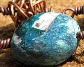 Chunky Copper Knot and Teal Stone Necklace - Handmade Rustic Artisan Jewelry, Copper Necklace, Blue Necklace, Copper and Blue