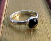 Black Onyx & Sterling Silver Stacking Ring - Handmade with Argentium Sterling Silver, Stackable Silver Ring, Black Ring, Black Jewelry