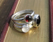 Sterling Silver Stacking Rings in Black, White & Red Gemstones - Handmade Argentium Sterling Silver Rings with Moonstone, Garnet and Onyx