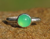 Green Chrysoprase Stacking Ring - Handmade with Argentium Sterling Silver, Chrysoprase Ring, Silver Stacking RIng, Green Jewelry