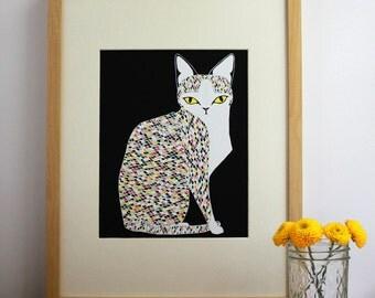 Cat Wall Art, Colorful Cat Print, Cat Lover Art, Confetti Cat Illustration, Cat Art Print, Cat Lady Art, Animal Lover Art Print, Home Decor