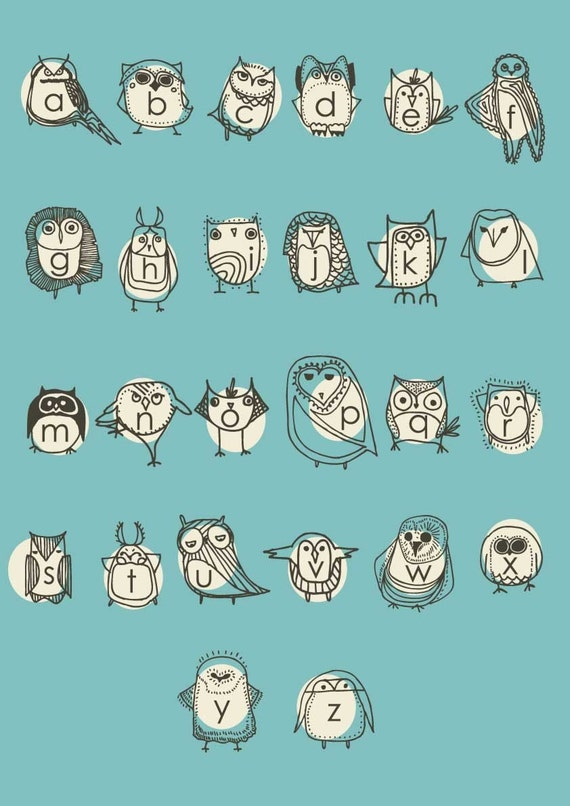 Turquoise Owl Alphabet Poster by Gingiber