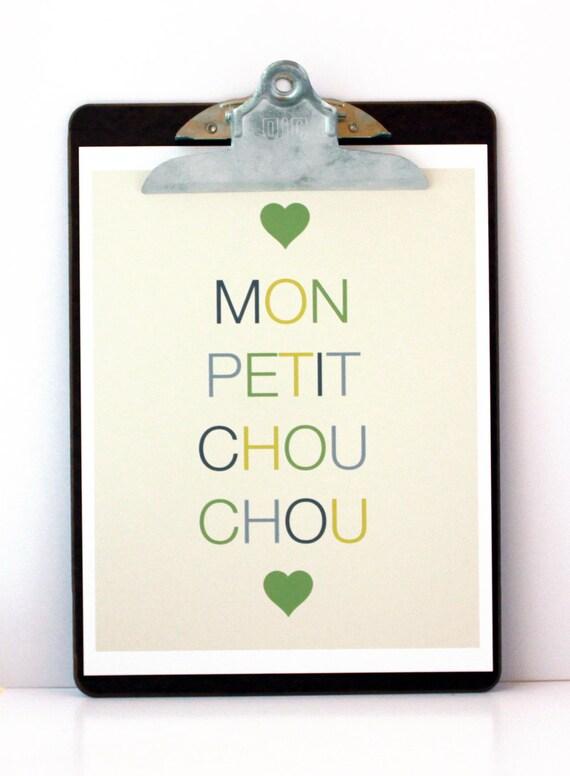 SALE- Mon Petit Chou Chou Print in Green