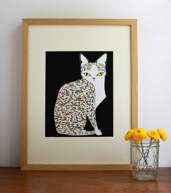 Confetti Cat Illustration, Cat Print, Cat Art Print, Colorful Cat Print, Cat Lover Art, Cat Lady Art, Animal Lover Art Print, Home Decor