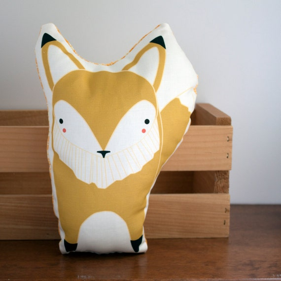 Clearance yellow fox pillow nursery decor home decor Clearance home decor