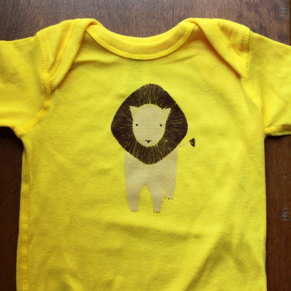 Screen Printed Lion Onesie - 12 Month on Yellow Prototype