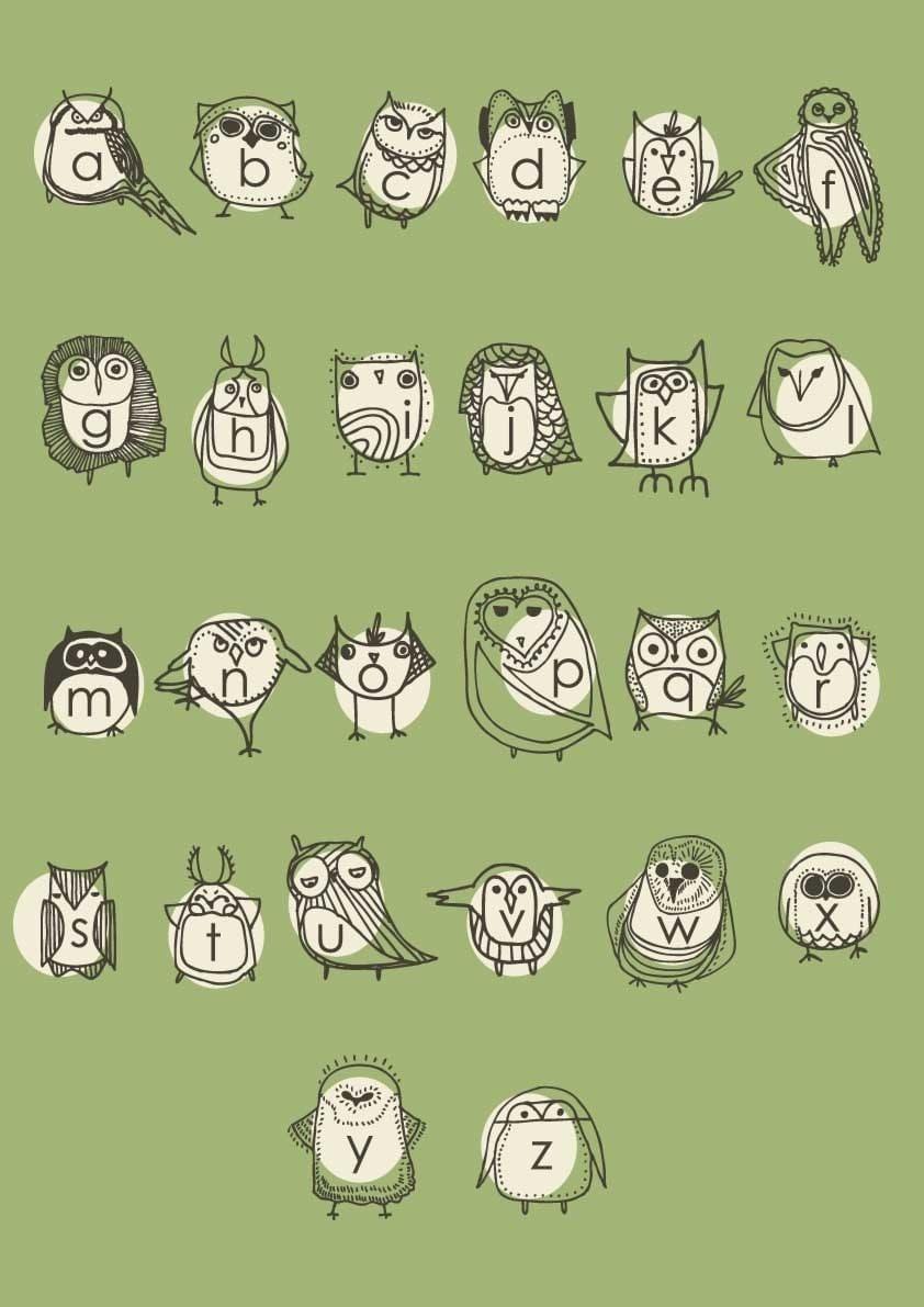 Large Abc Letters Black White: Large Owlphabet Poster Alphabet Nursery Art Owl Nursery