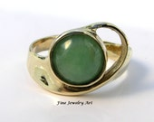 Green Jade Ring Handmade In 14k Solid Gold - Unique & Flowing Sweep The Skies Original Ring Design by EVB Design Fine Jewelry Art