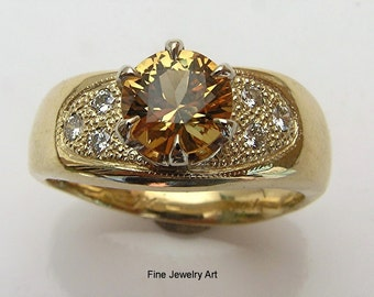 Yellow Sapphire Wedding Ring Band in 14k  Gold & Diamond Pave -14k  Gold Sapphire Right Hand Statement Ring - Unique - Elegant Design