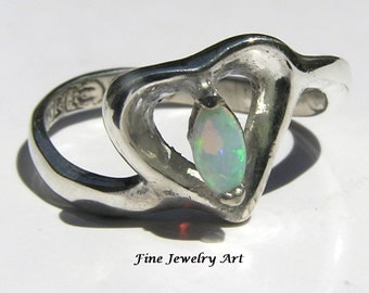 Opal Open Heart Ring Handmade in Sterling Silver