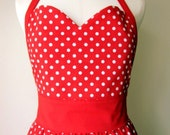 Sweetheart Apron in Red Dots with Personalization