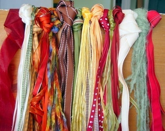 RIBBON ASSORTMENT - 20 Yards, FALL Inspired Colors - orange, green, cream, brown, gold, burgundy: scrapbooking, cards, craft, sewing, Autumn