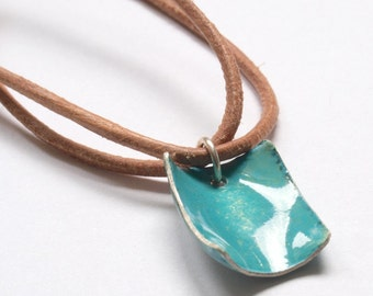 turquoise enameled beach leather necklace in sterling silver