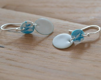 ocean blue wave sterling silver white enameled earings