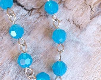 vibrant blue beaded swarovski crystal bracelet