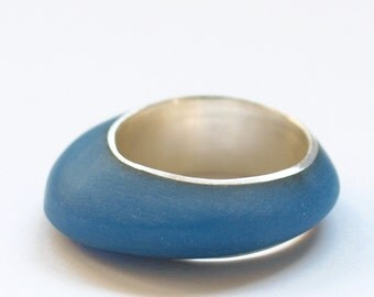 aqua blue sterling silver resin ring