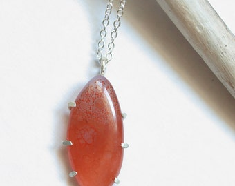 orange agate necklace in sterling silver