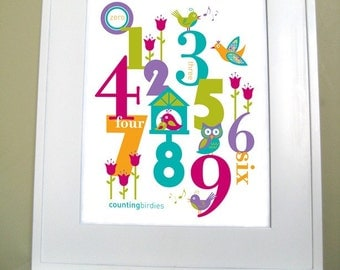 Digital Download, Printable Wall Art, 8x10-kids Numbers room decor - RASPBERRY