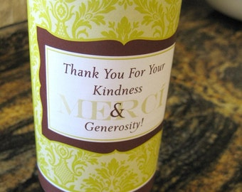 Digital Download - Thank You Damask Wine Wrap - Chartreuse