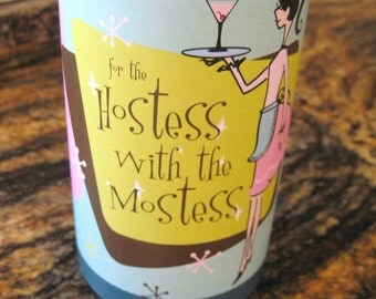 Digital Download - Hostess with the Mostess Wine Wrap - Aqua/Pink