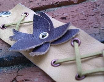 Leather Garden Cuff Bracelet