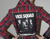 Plaid Woman's Blazer with Gold Pyramid STUDS and VICE SQUAD Back Patch