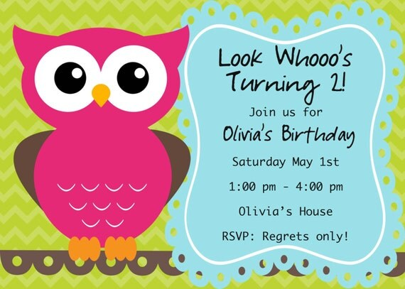 Owl Birthday Invite Card Can be Personalized or Customized Invitation JPEG Printable Children Holiday