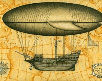 "Her Majesty's Royal Guard Airship Steampunk Vintage Fantasy 8x10"" Fine Art Print"