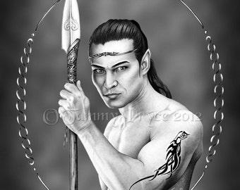 Pencil Drawing Elvin Prince Black & White Illustration Fine Art Print