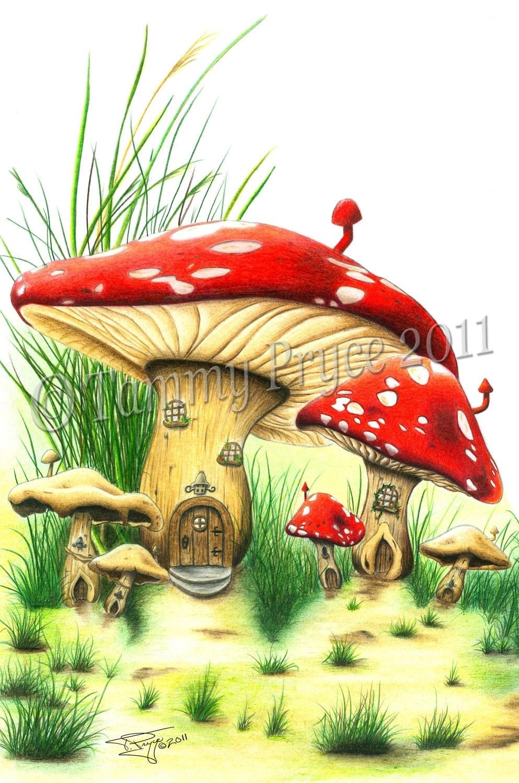 Mushroom House Fantasy Fairy Tale 11x14 Fine Art Print  Mushroom House ...
