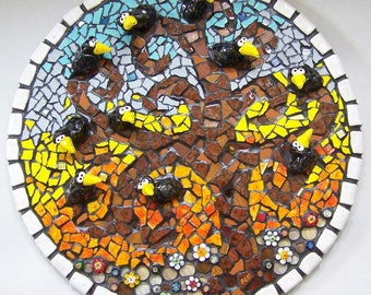 RAVENS WHISPER - Mosaic Circle Ravens in Tree Picture - Custom Pieces Available Upon Request
