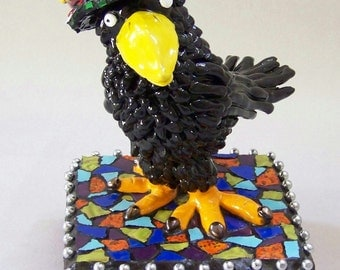 FLiGHTS of FANCY - Crow Bird Sculpture with Mosaic Hat and Base - Custom Pieces Available Upon Request