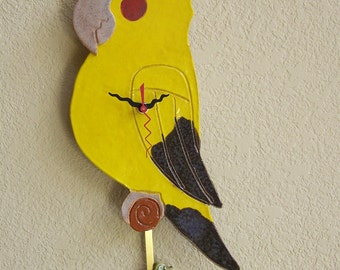 Cockatiel Clock with Leaf Pendulum Item C1040 - Custom Pieces Available Upon Request