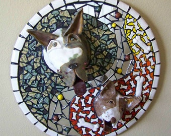 "Mosaic Great Dane and English Bull Terrier Circular Picture ""Woofpack"""