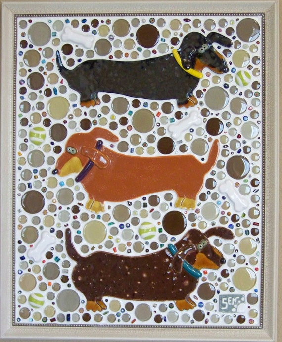 TAIL CHASERS - Mosaic Dachshund Dog Wall Art - Custom Pieces Available Upon Request