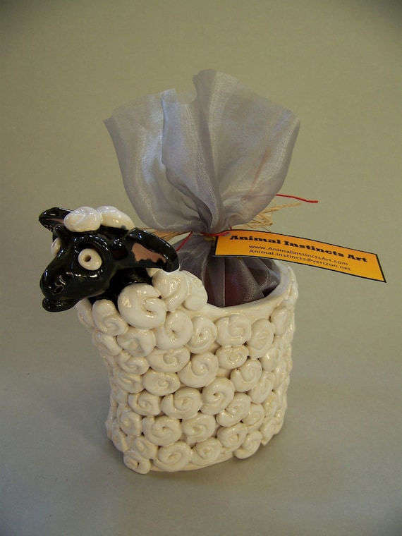 ON SALE - Ceramic Sheep Potpourri Vase Item V1080 - Custom Pieces Available Upon Request