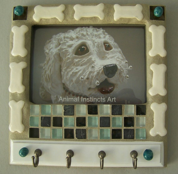 Mosaic Picture Frame and Key Holder with Blue tiles Item 1087