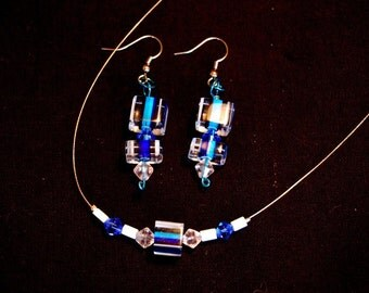 Blue Striped Jewelry Set